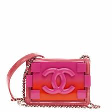 New Chanel Boy Brick Flap Bag Mini Pink Orange Plexiglass Patent Cross Body
