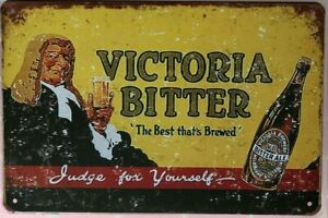 VICTORIA BITTER Rustic Look Vintage Tin Metal Sign Man Cave, Shed-Garage & Bar
