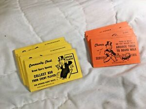 VTG Monopoly 1961 Community Chest Chance Replacement Cards Set Of 31