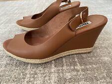 Dune Tan Leather Sling Back Wedge Sandal 40 / 6.5