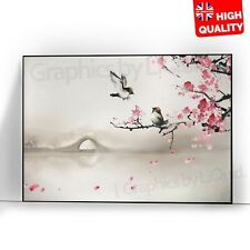Birds Pink Flowers Bridge Landscape Art Painting Poster | A5 A4 A3 A2 A1