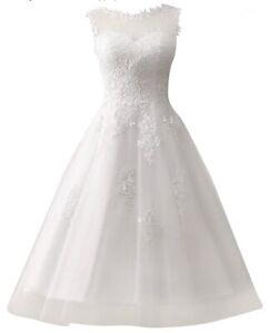 Women's New Jaden Lace Tea Length White Wedding Dress Size 4/6
