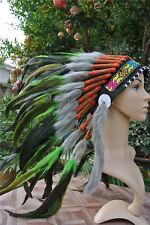 21inch green indian feather headdress indian war bonnet american costume