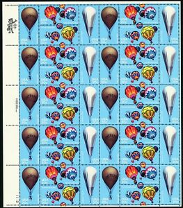 Hot Air Balloons Full Sheet of Forty 20 Cent Postage Stamps Scott 2032-35