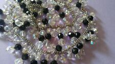 HIGH END Vintage Coro black and AB cyrstal Bead Necklace SIGNED