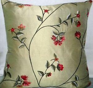 """Crepe silk, embroidered cushion cover,  19x19"""""""