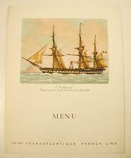 Company General Transatlantique Menu Cruise Liner France Frigate L'Regency
