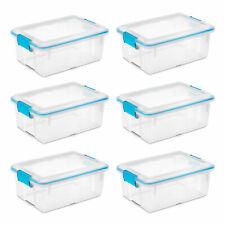Sterilite 12 Qt Plastic Storage Bin Container Clear Gasket Sealed Box (6 Pack)