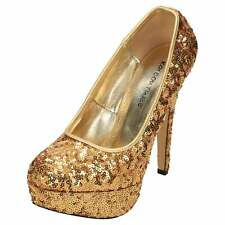 Gold Stiletto High Heel Court Shoes Platform Sequins Party Prom Wedding Bridal