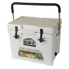 SUB-Z Hard Chest Cooler 23 Qt. Locking Lid Stainless Steel Handle Non-Slip White