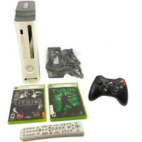 Microsoft Xbox 360 Pro 20GB Console Bundle Game White Wireless Controller Tested