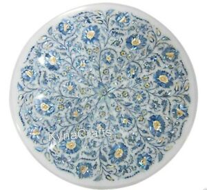 Shiny Blue MOP Stone Inlay Work Coffee Table Top Round Marble End Table 18 Inch