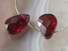 Natural RED GARNET Gemstone Faceted Briolette Pear Drop 8mm - Beads - Pair
