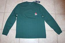 NWT Vineyard Vines Medium Mens LS Green Christmas Santa Fly Hat Pocket T-Shirt