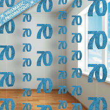 70th BIRTHDAY PARTY SUPPLIES PK 6 GLITZ BLUE DANGLING HANGING DECORATIONS