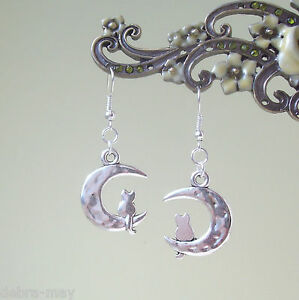 Cute Cat on the Moon Dangly Silver Plated Earrings