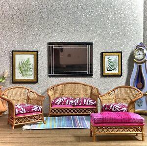 1:12 Dollhouse cane rattan living room set sofa armchairs tropical cerise