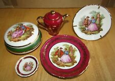 Vintage Limoges Miniature Red Teapot/Coffee pot,small Lidded Pot,Tiny Dishes x 5