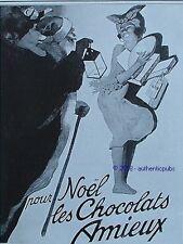 PUBLICITE AMIEUX CHOCOLATS PERE NOEL ANTILLAISE DE 1928 FRENCH AD PUB RARE