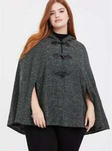 Torrid Cape Outlander Green Marled Hooded Toggle Cosplay Plus Size 1 / 2 14 / 20
