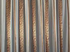 Gardinenstoffe Store Vorhang Stoff Voile Weiß Versace Mäander Braun / Gold