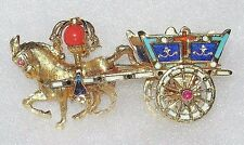 Detailed 18K Yellow Gold Horse Drawn Carriage Enamel Ruby Cross Brooch Pin