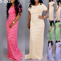 US Women Summer Stripe Boho Party Beach T Shirt Dresses Long Maxi Dress Sundress