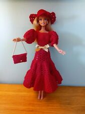 Toy Barbie Doll Home Made Crochet Red Dress, Chain Purse ,Hat, Brand New Outfit
