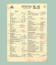 Fendt Dieselross 24 PS   FW 237   FWU 237  Technisches Datenblatt  Original 1958