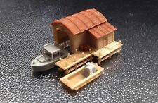 Outland Models Train Railway Scenery Boathouse with Boat and Pier N Scale 1:160