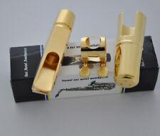 Top Jazz Metal Gold plate Alto Mouthpiece Eb Saxophone size 7 Free Reed