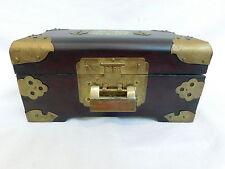 CHINESE ROSEWOOD BRASS JADE TRINKET JEWLERY TREASURE BOX SILK LOCK AND KEY
