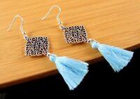 Bohemian Tibetan Style Dangle Earrings with Light Blue Cotton Tassels #320