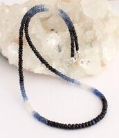 Edler Saphir Kette edelsteinkette Fecettierte Saphirkette blau weiße saphire   .