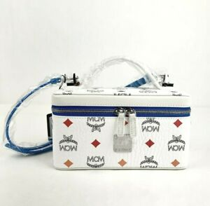 $595 MCM Rockstar White Rainbow Spectrum Visetos Vanity Case Box Bag MYZ9SSV60WA
