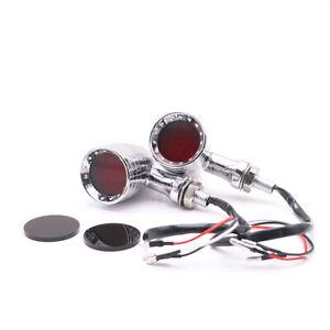 2x Custom 12V LED Bullet Turn Signal Indicator Brake Light Motorcycle Cafe Racer