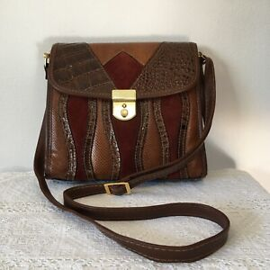 Small Faux Leather Handbag Retro 90s Style Cross Body Bag Brown Croc Suede