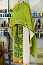 Orthodox priest vestments set in green fully embroidered