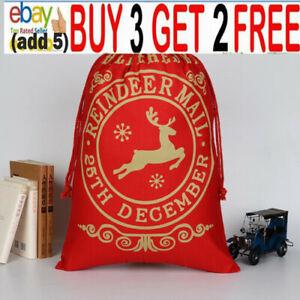 1x Christmas Bag Santa Sack Canvas Bag Gifts Bags with Drawstrings Large Size sr