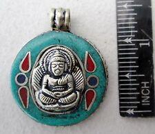 Nice! Tibet Tibetan Silver & Turquoise Buddha Amulet