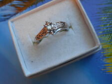 Cut Diamond Engagement Ring Size 6.75 Vintage 10K White Gold And 2.5Mm Round