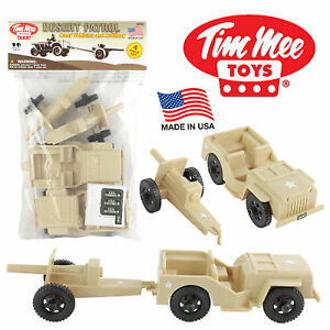TimMee Processed Plastic Tan Willys Jeep & Artillery: Tim Mee Army Men Playset