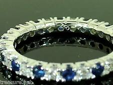 R122 Genuine 18K White Gold Natural Sapphire & Diamond Full ETERNITY Ring size M