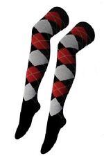 Señoras más la rodilla Argyle calcetines largos Golf cuadros de diamante Negro Gris Rojo