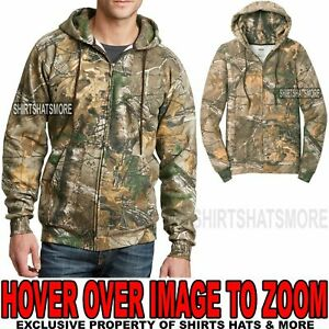 Realtree Xtra Mens Camo FULL ZIP Hoodie Hooded Sweatshirt Hoody S M L XL 2X 3X