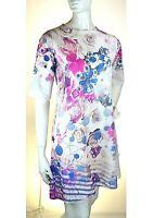 Vestito Donna Abito RISSKIO Made in Italy I151 Floreale Multicolore Tg S veste+