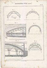 ARCHITETTURA CIVILE CENTINA PONTI INCISIONE STAMPA IN RAME 1866 TAVOLA ORIGINALE