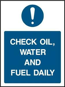check oil water and fuel