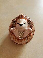 Enamel Rhinestone Trinket Box Hedgehog