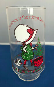Coca-Cola Holly Hobbie Merry Christmas Glass Limited Edition White Hat 1970's